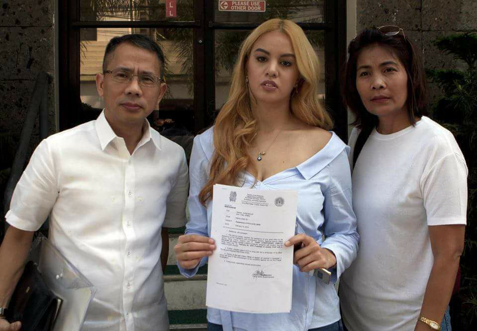 Miss Philippines Earth 2016 Imelda Bautista Schweighart files a case for child support and violation of the Anti-Violence Against Women and their Children Act of 2004 against the father of her son, Police Inspector Christopher Comicho Dulagan, Man of the World-Philippines 2016.
