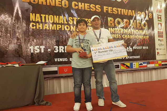 (Photo shows Fide Master (FM) Alekhine Fabiosa Nouri, Junior division champion and International Master (IM) Hamed Nouri, Open division co-champion in the just ended Borneo International Chess Championship 2018 (Rapid Fide rated) was held in Kota Kinabalu, Sabah, Malaysia over the weekend.)