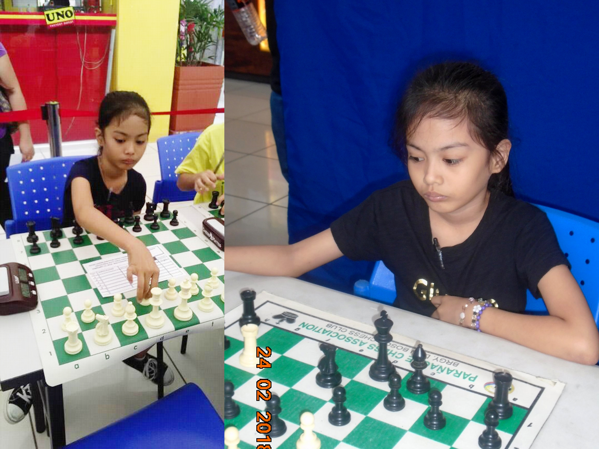 Photo shows Philippine chess wizard nine year old girl Kaye Lalaine Regidor of Sta. Rosa, Laguna. She just finished 4th over-all in the 6th leg of the Chess Education for Age-Group (CEFAG)-Philippine Blitz Chess Association Chess Tournament was held at Waltermart ,Sucat ,Paranaque City last February 24,2018 winning four out of five games.
