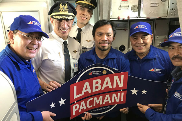 #PACMAN FLIES PAL. Philippine Airlines, official carrier of Team Pacquiao,flew Manny Pacquiao's entourage on board a chartered PAL Airbus A321 jet fromGeneral Santos direct to Kuala Lumpur afternoon of July 9 for Pacquiao's ringmatch with Lucas Matthysse this weekend. Sending him off included PAL's VictorSuarez, area head for Mindanao; and Harry Inoferio, senior asst. VP for Visayas &Mindanao. In command of the flight was Capt. Patrick Michael Roa.