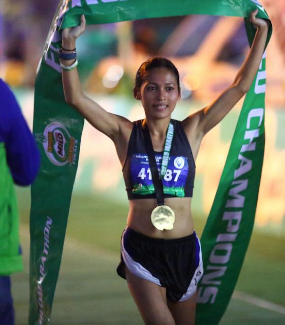Christine Hallasgo at the finish line as the new MILO Marathon Queen